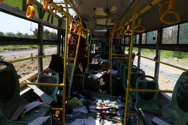 The interior of a damaged bus is seen after an explosion yesterday at insurgent-held al-Rashideen, Aleppo province, Syria