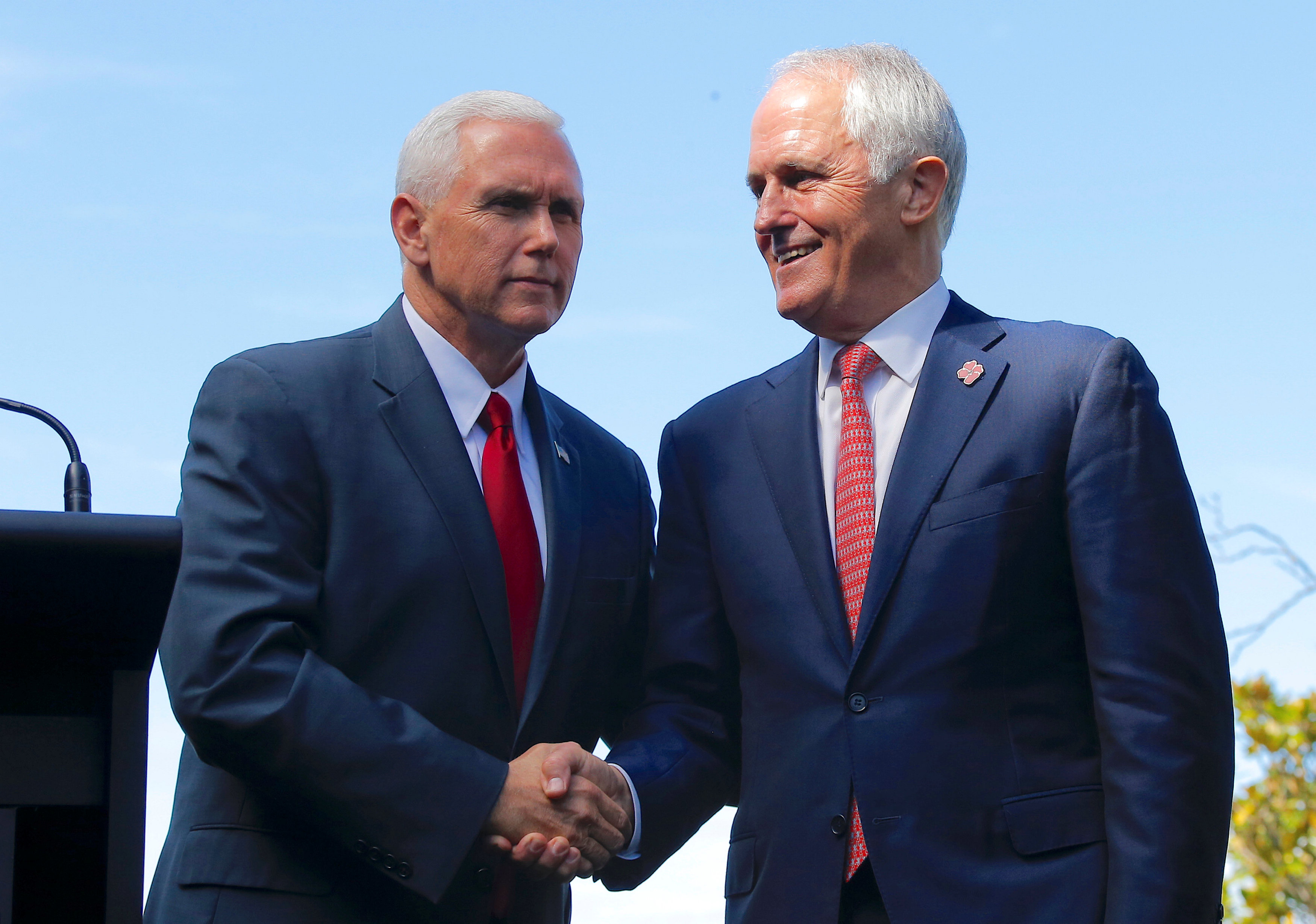 U.S. Vice President Mike Pence (L) shakes hands with Australia's Prime Minister Malcolm Turnbull after a media conference at Admiralty House in Sydney, Australia, April 22, 2017. REUTERS/Jason Reed