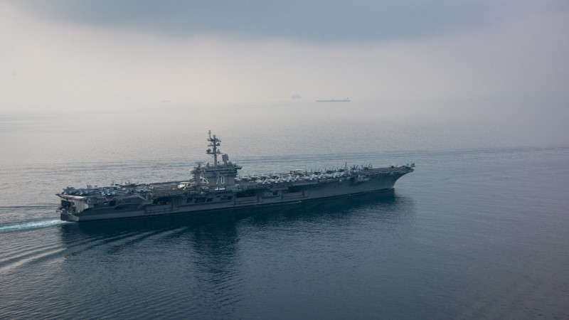 The aircraft carrier USS Carl Vinson (CVN 70) transits the Sunda Strait April 15, 2017. U.S. Navy Photo by Mass Communication Specialist 2nd Class Sean M.