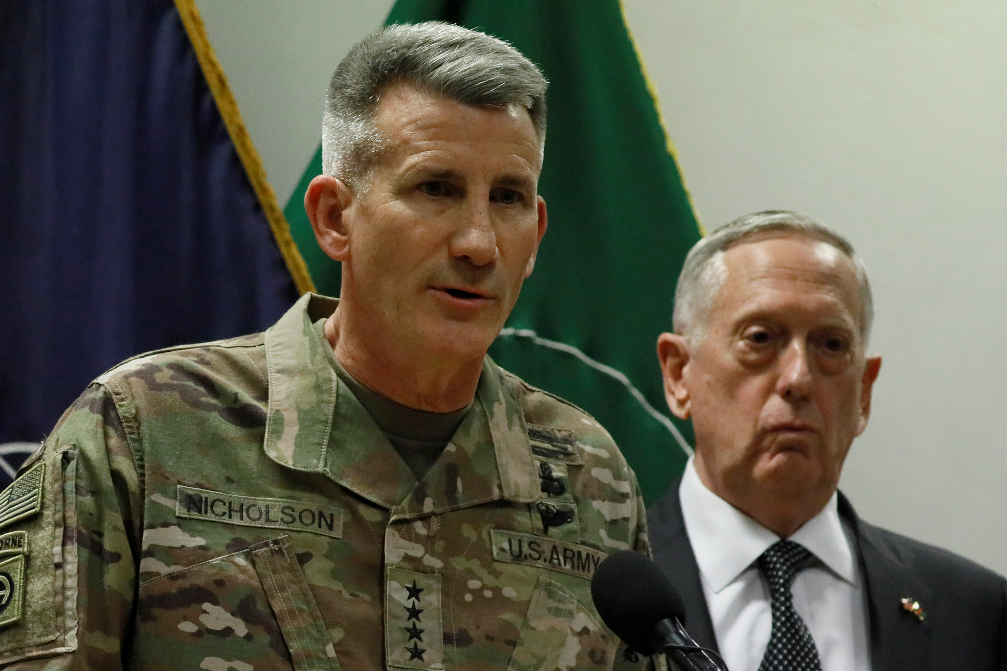 U.S. Army General John Nicholson (L), commander of U.S. Forces Afghanistan, and U.S. Defense Secretary James Mattis (R) hold a news conference at Resolute Support headquarters in Kabul, Afghanistan