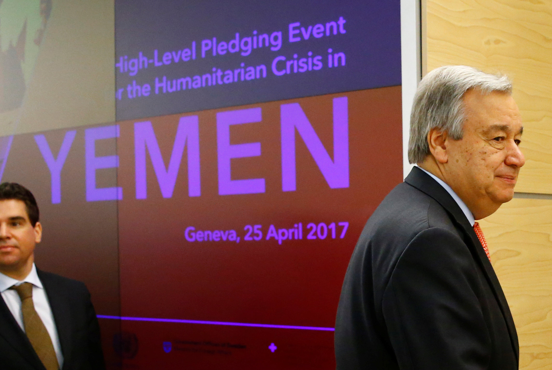 U.N. Secretary General Antonio Guterres attends the High-level Pledging Event for the Humanitarian Crisis in Yemen at the United Nations in Geneva, Switzerland April 25, 2017. REUTERS/Denis Balibouse