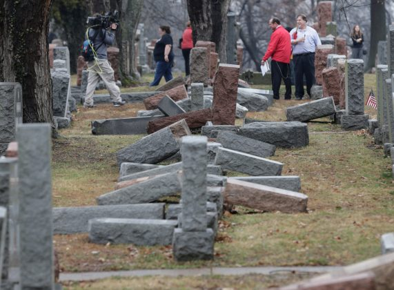 DAY 33 / FEBRUARY 21: President Donald Trump delivered his first public condemnation of anti-Semitic incidents in the United States after a new spate of bomb threats to Jewish community centers and the vandalism of about 170 headstones in a Jewish cemetery in St. Louis (above). REUTERS/Tom Gannam