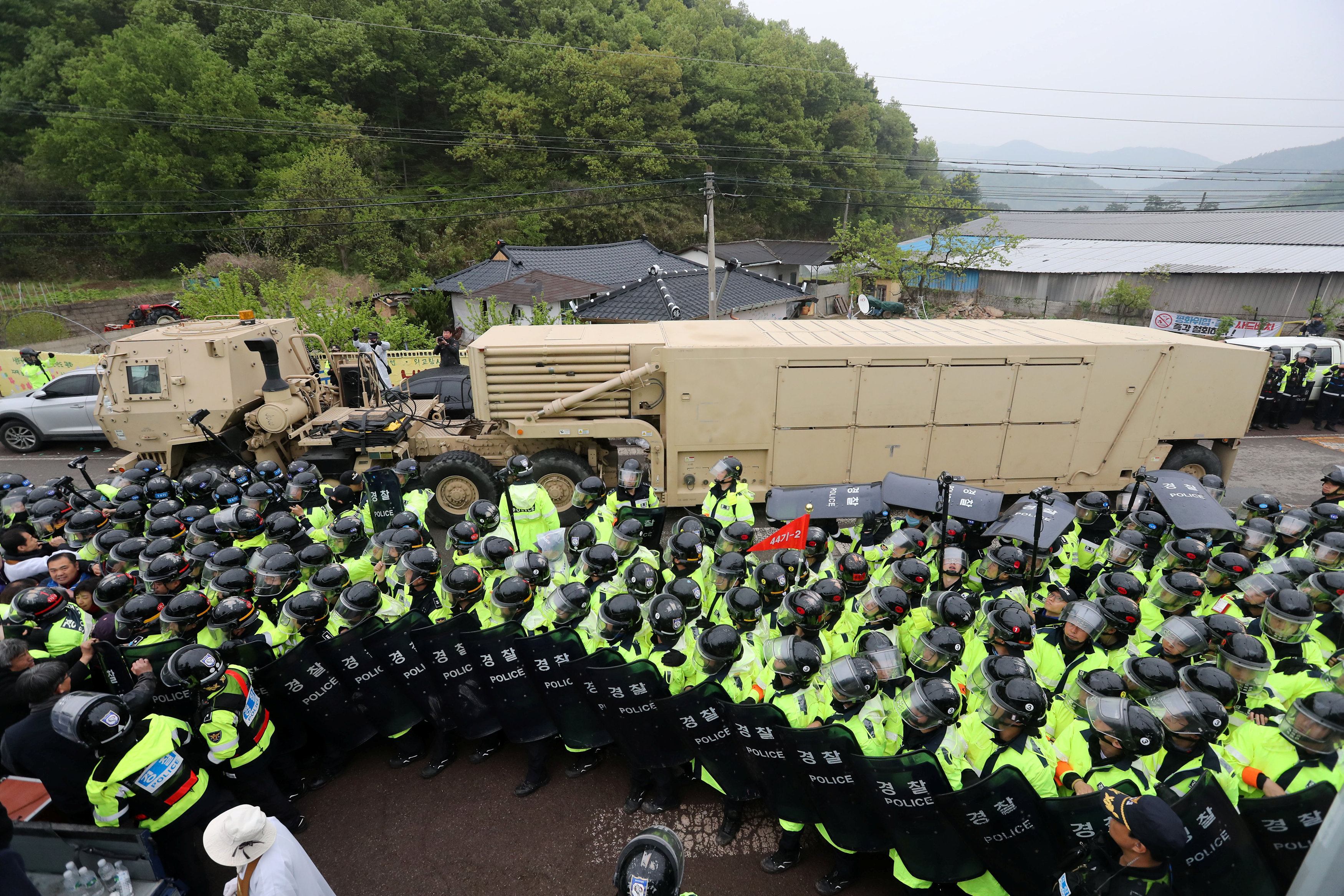 A U.S. military vehicle which is a part of Terminal High Altitude Area Defense (THAAD) system arrives in Seongju, South Korea, April 26, 2017. Kim Jun-beom/Yonhap via REUTERS