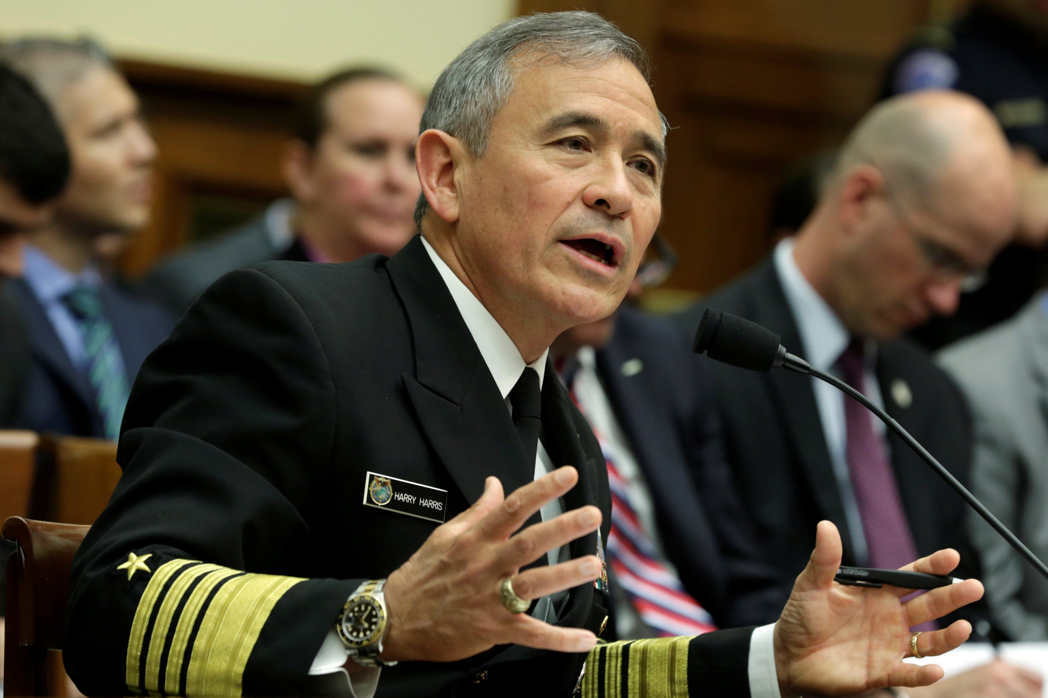 "The Commander of the U.S. Pacific Command, Admiral Harry Harris, testifies before a House Armed Services Committee hearing on ""Military Assessment of the Security Challenges in the Indo-Asia-Pacific Region"" on Capitol Hill in Washington, U.S, April 26, 2017. REUTERS/Yuri Gripas"