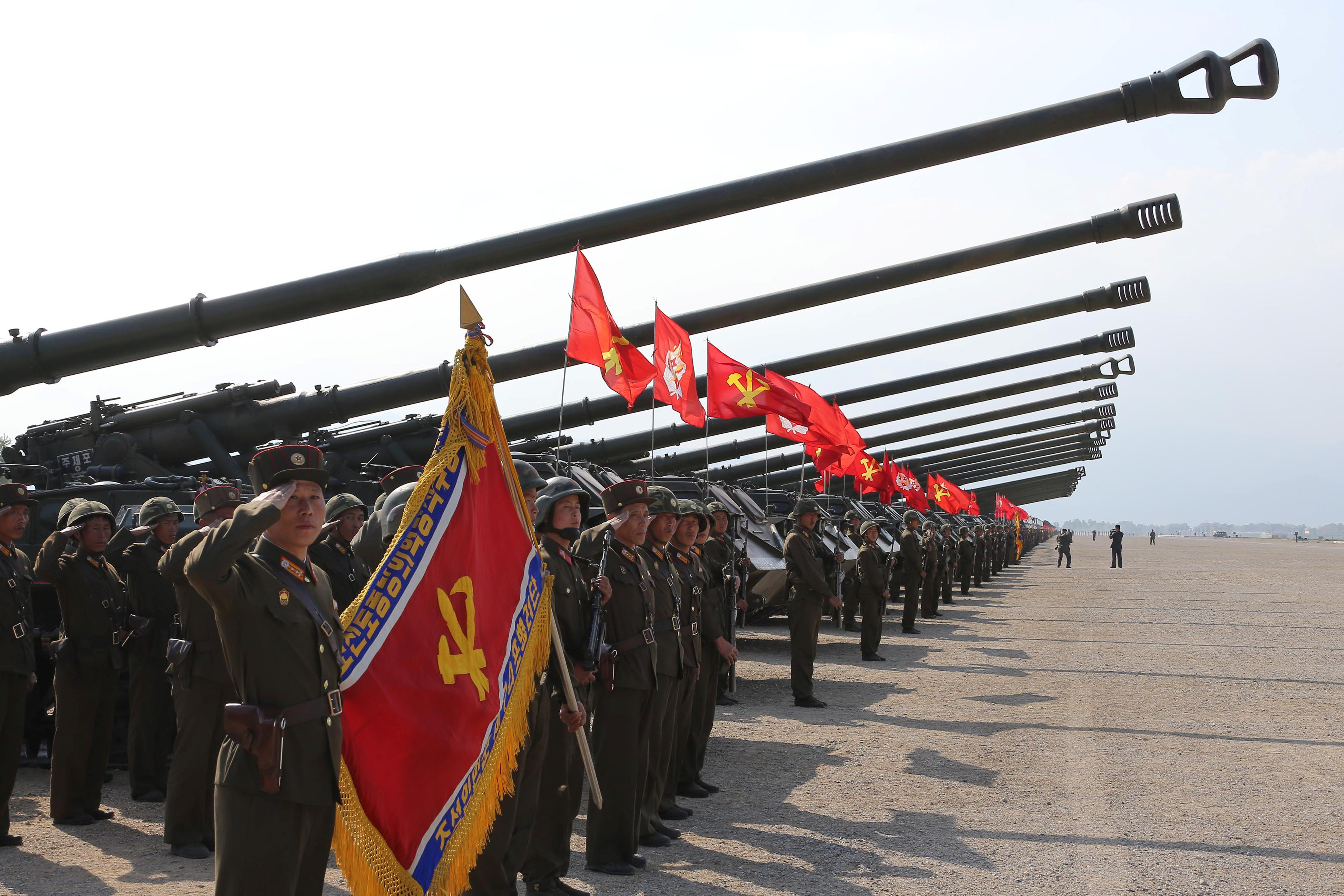 A military drill marking the 85th anniversary of the establishment of the Korean People's Army (KPA) is seen in this handout photo by North Korea's Korean Central News Agency (KCNA) made available on April 26, 2017. KCNA/Handout via REUTERS