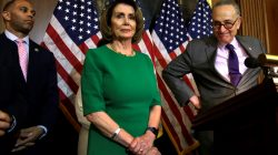 U.S. Senate Minority Leader Chuck Schumer (D-NY) (R) attends a news conference on President Trump's first 100 days on Capitol Hill, next to House Minority Leader Nancy Pelosi (D-CA) in Washington, U.S April 28, 2017. REUTERS/Yuri Gripas