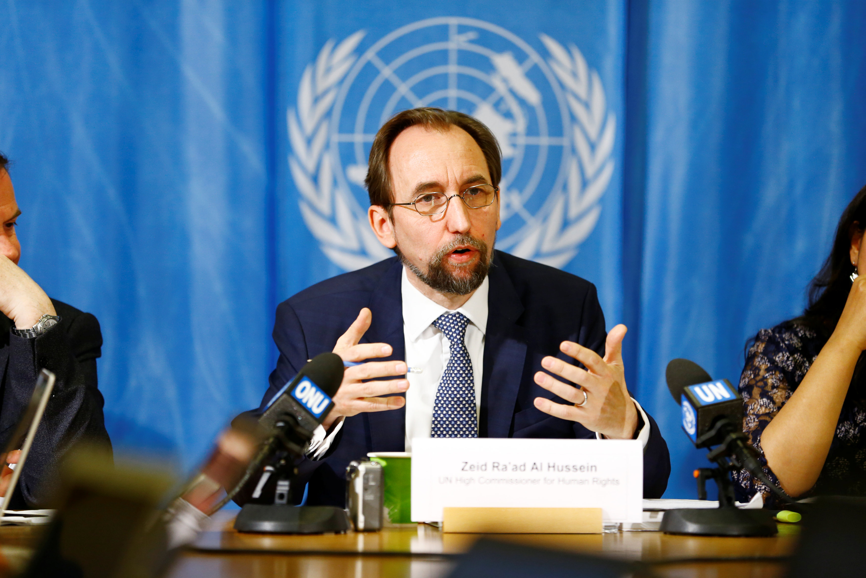 United Nations High Commissioner for Human Rights Zeid Ra'ad al-Hussein of Jordan speaks during a news conference at the United Nations European headquarters in Geneva, Switzerland,