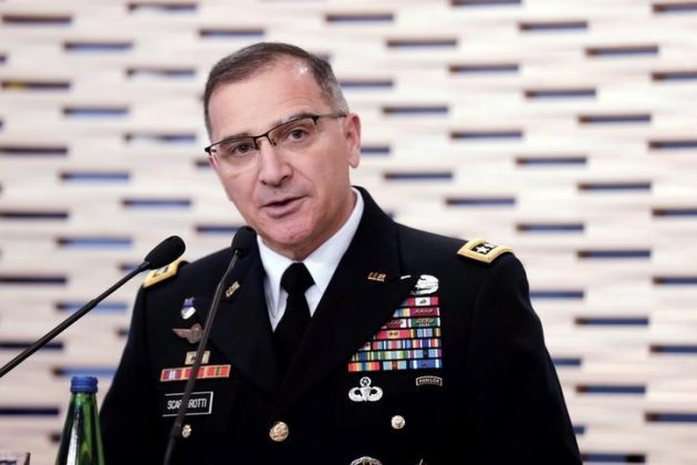 Commander of U.S. Forces in Europe, General Curtis Scaparrotti speaks during a news conference in Tallinn, Estonia, March 14, 2017. REUTERS/Ints Kalnins