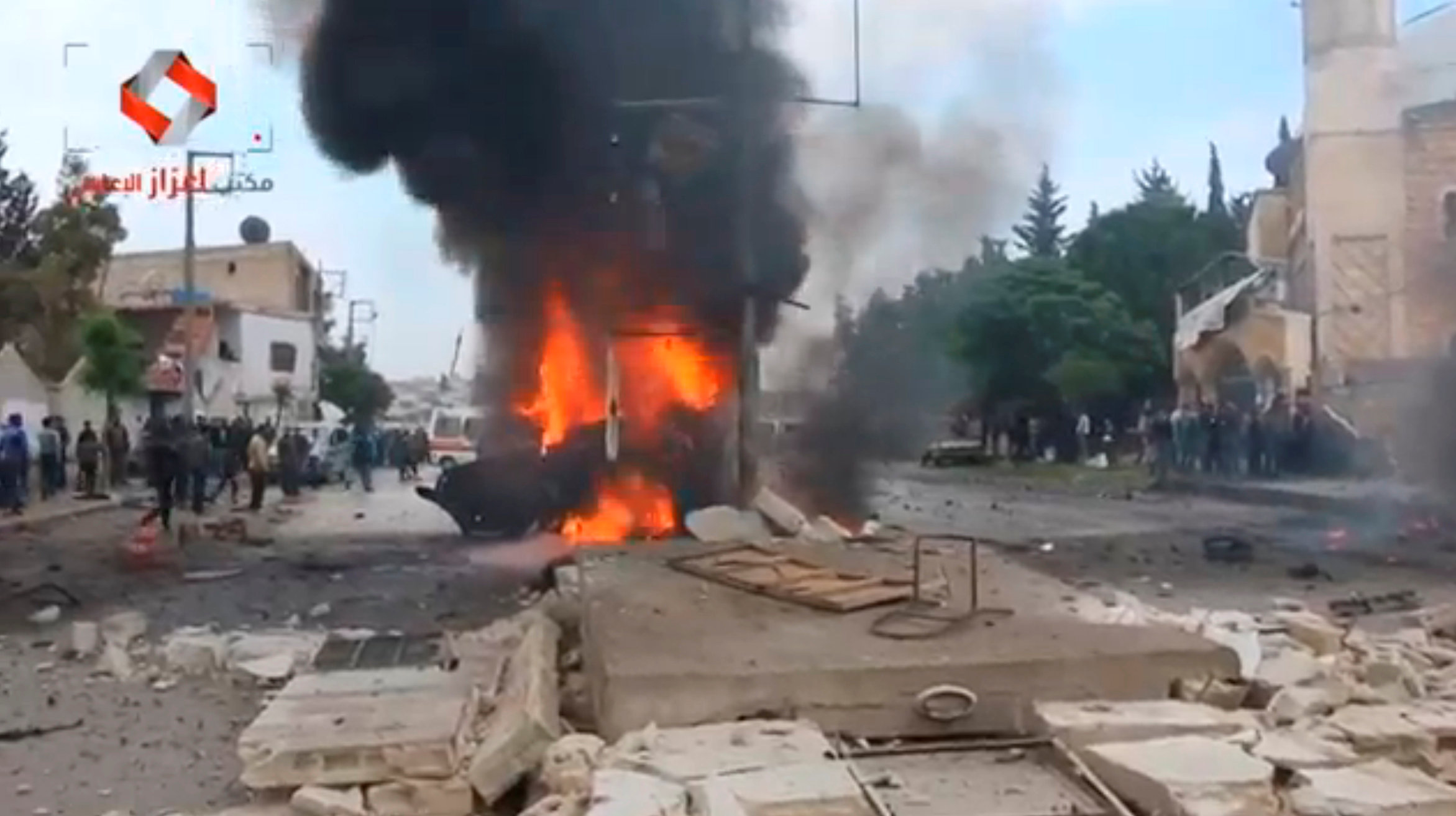 A still image taken from a video posted to a social media website said to be shot on May 3, 2017, shows what is said to be the site of a car bomb in what is said to be Azaz, Syria. Social Media Website via Reuters TV