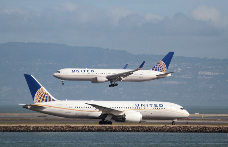 FILE PHOTO - A United Airlines Boeing 787 taxis as a United Airlines Boeing 767 lands at San Francisco International Airport, San Francisco, California, U.S. on February 7, 2015. REUTERS/Louis Nastro/File Photo