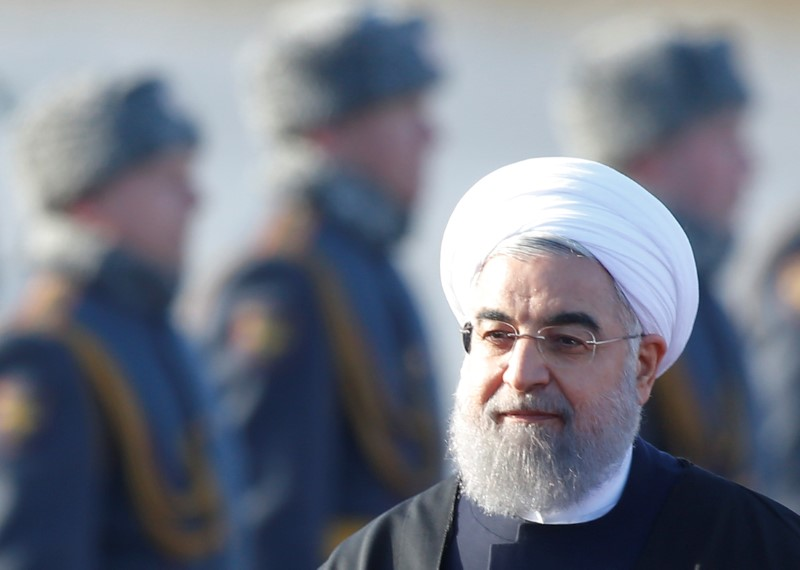 FILE PHOTO: Iranian President Hassan Rouhani inspects the honour guard during a welcoming ceremony upon his arrival at Vnukovo International Airport in Moscow, Russia March 27, 2017. REUTERS/Maxim Shemetov/File Photo