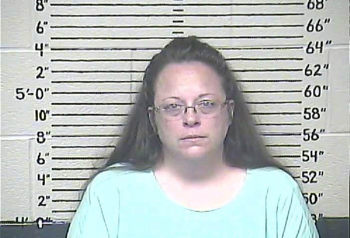 Rowan County clerk Kim Davis is shown in this booking photo provided by the Carter County Detention Center in Grayson, Kentucky September 3, 2015. REUTERS/Carter County Detention Center/Handout via Reuters
