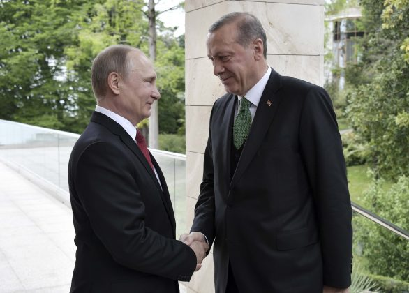 Russian President Vladimir Putin (L) shakes hands with his Turkish counterpart Tayyip Erdogan during a meeting in Sochi, Russia. Sputnik/Alexei Nikolsky/Kremlin via REUTERS