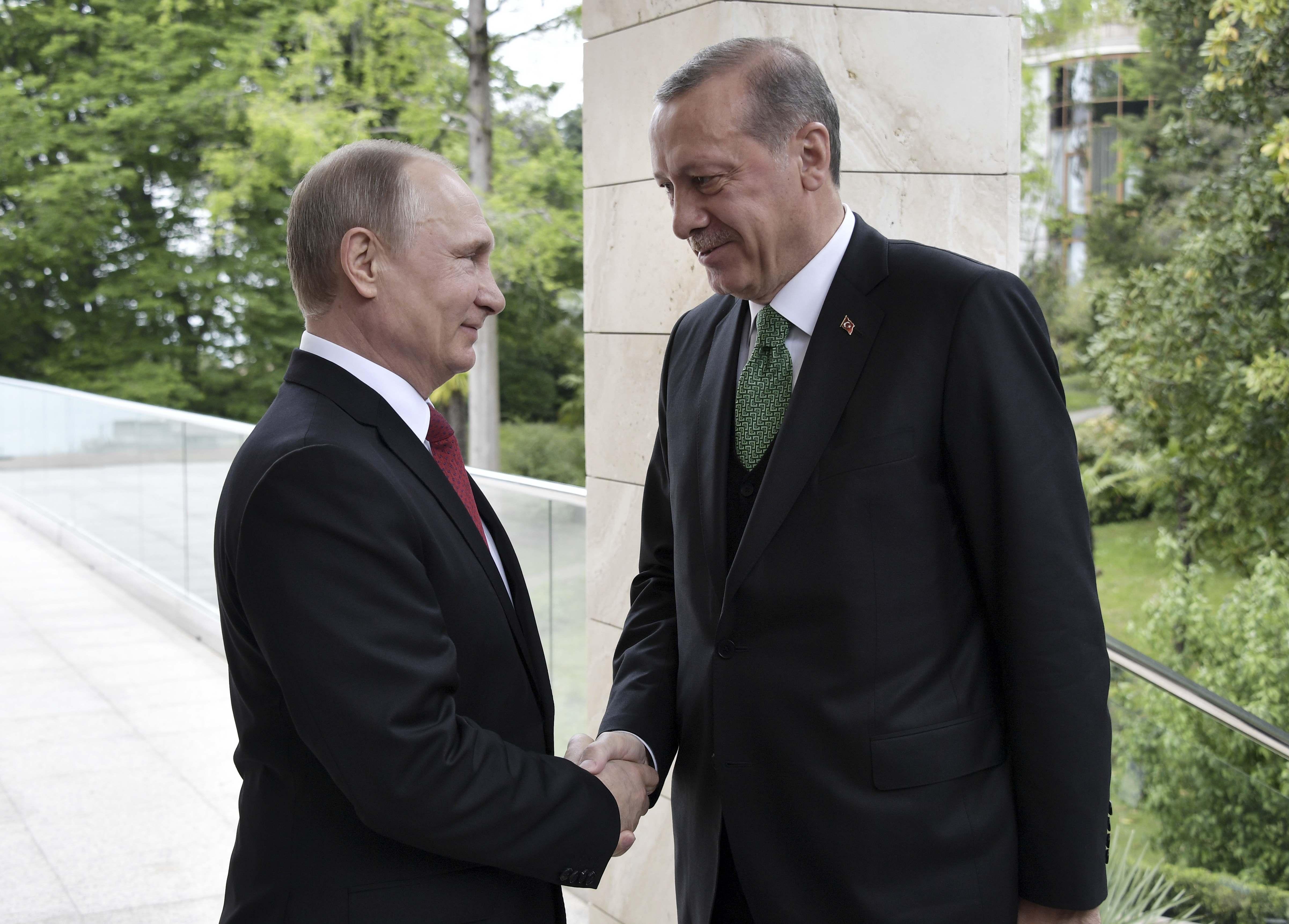 Russian President Vladimir Putin (L) shakes hands with his Turkish counterpart Tayyip Erdogan during a meeting in Sochi, Russia. Sputnik/Alexei Nikolsky/Kremlin via REUTERS