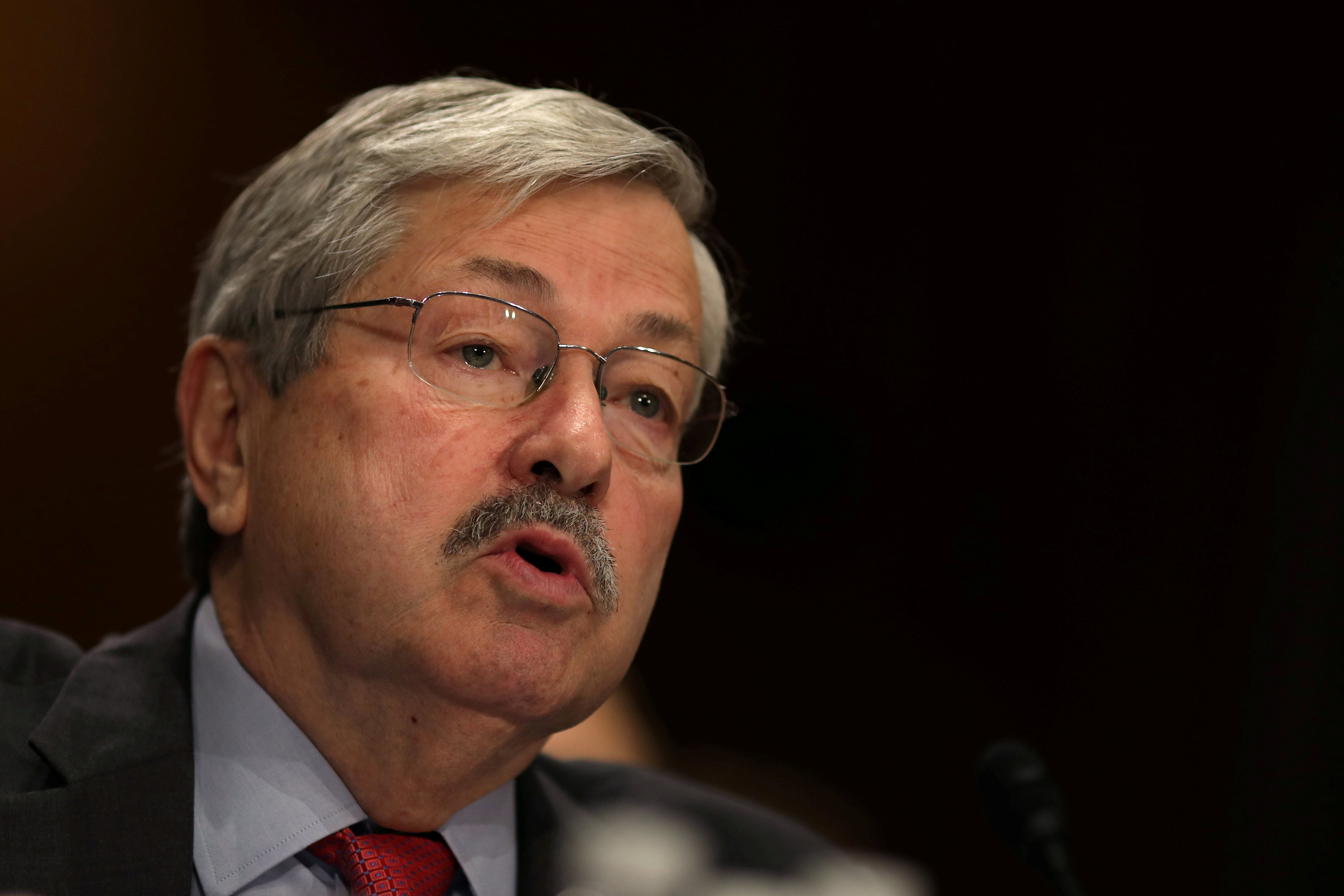 Iowa Governor Terry Branstad testifies before a Senate Foreign Relations Committee confirmation hearing on his nomination to be U.S. ambassador to China at Capitol Hill in Washington D.C., U.S. on May 2, 2017. REUTERS/Carlos Barria/File Photo