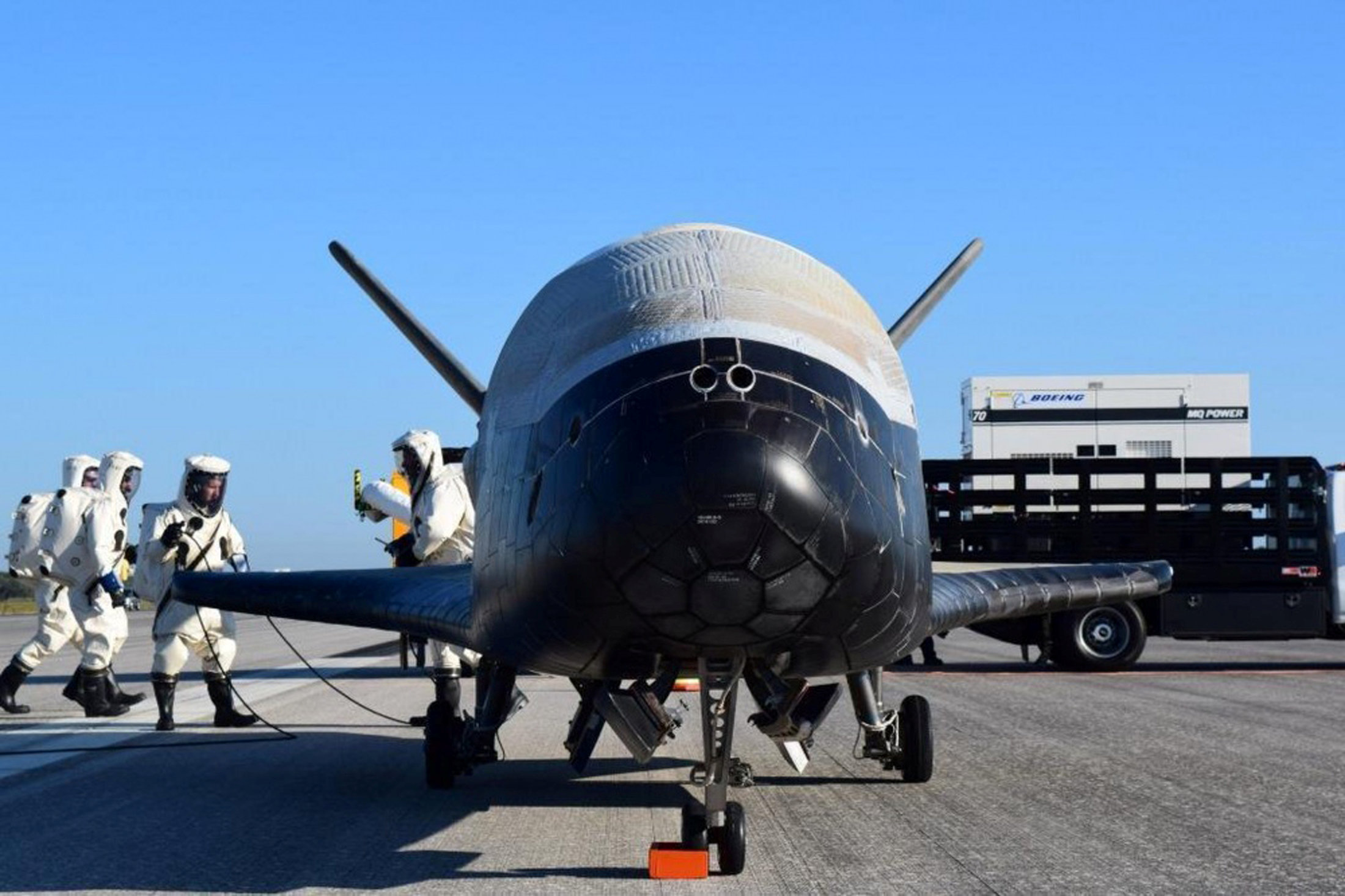 The U.S. Airforce's X-37B Orbital Test Vehicle mission 4 after landing at NASA's Kennedy Space Center Shuttle Landing Facility in Cape Canaveral, Florida, U.S.,