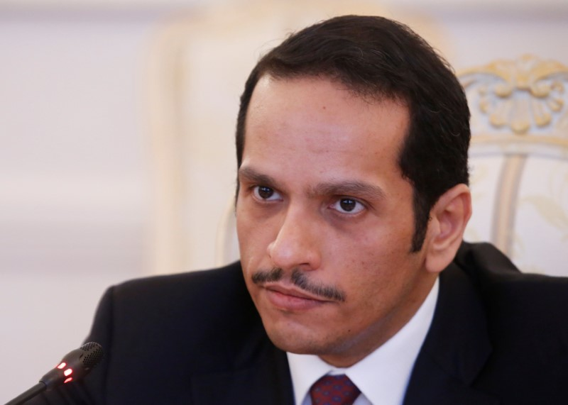 Qatari Foreign Minister Sheikh Mohammed bin Abdulrahman bin Jassim Al-Thani attends a meeting with Russian Foreign Minister Sergei Lavrov in Moscow, Russia, in this file photo dated April 15, 2017. REUTERS/Maxim Shemetov