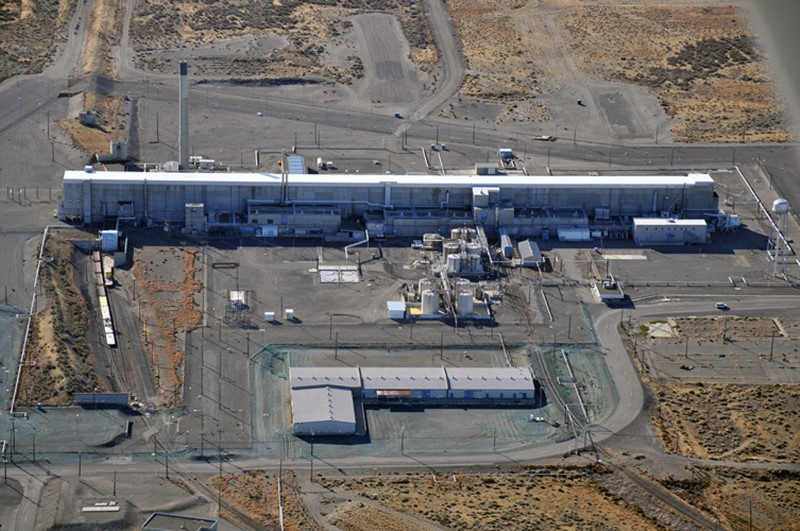 The Purex (Plutonium Uranium Extraction Plant) separations facility at the Hanford Works is seen in an undated aerial photo. The building has been vacant for nearly twenty years but remains highly contaminated, according to the Department of Energy. DOE/Handout via REUTERS