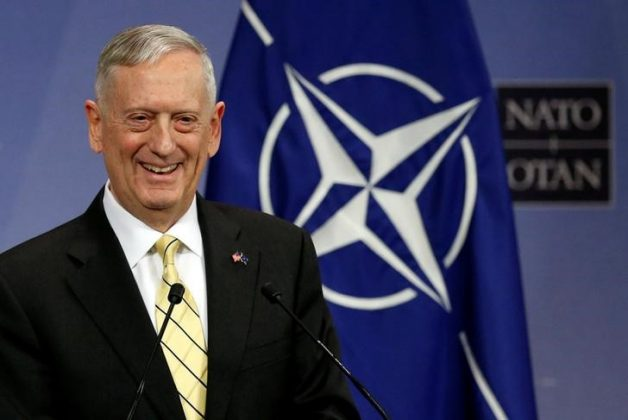 FILE PHOTO: U.S. Defense Secretary Jim Mattis addresses a news conference during a NATO defence ministers meeting at the Alliance headquarters in Brussels, Belgium, in this file photo dated February 16, 2017. REUTERS/Francois Lenoir/File Photo