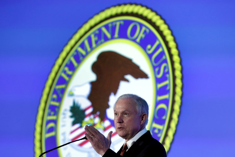 FILE PHOTO: Attorney General Jeff Sessions delivers remarks at the Ethics and Compliance Initiative annual conference in Washington, U.S., April 24, 2017. REUTERS/Yuri Gripas/File Photo
