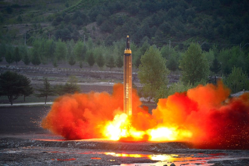 The long-range strategic ballistic rocket Hwasong-12 (Mars-12) is launched during a test in this undated photo released by North Korea's Korean Central News Agency