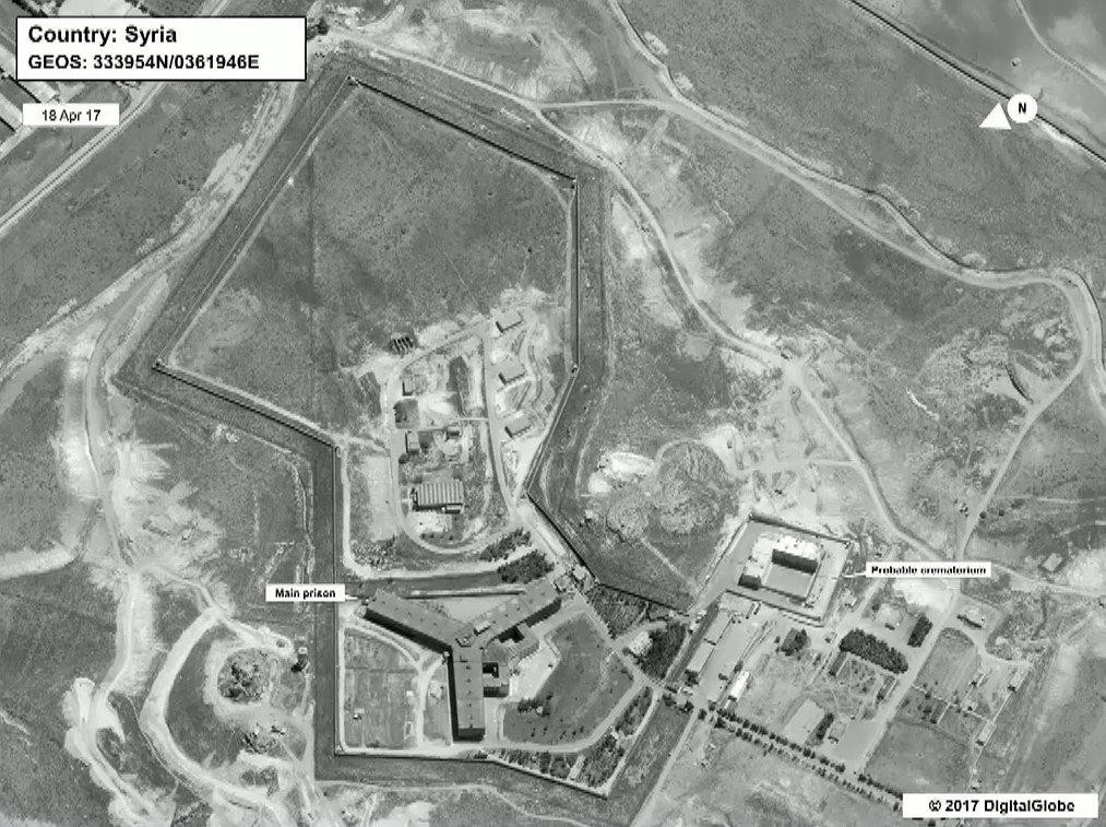 A satellite view of Sednaya prison complex near Damascus,