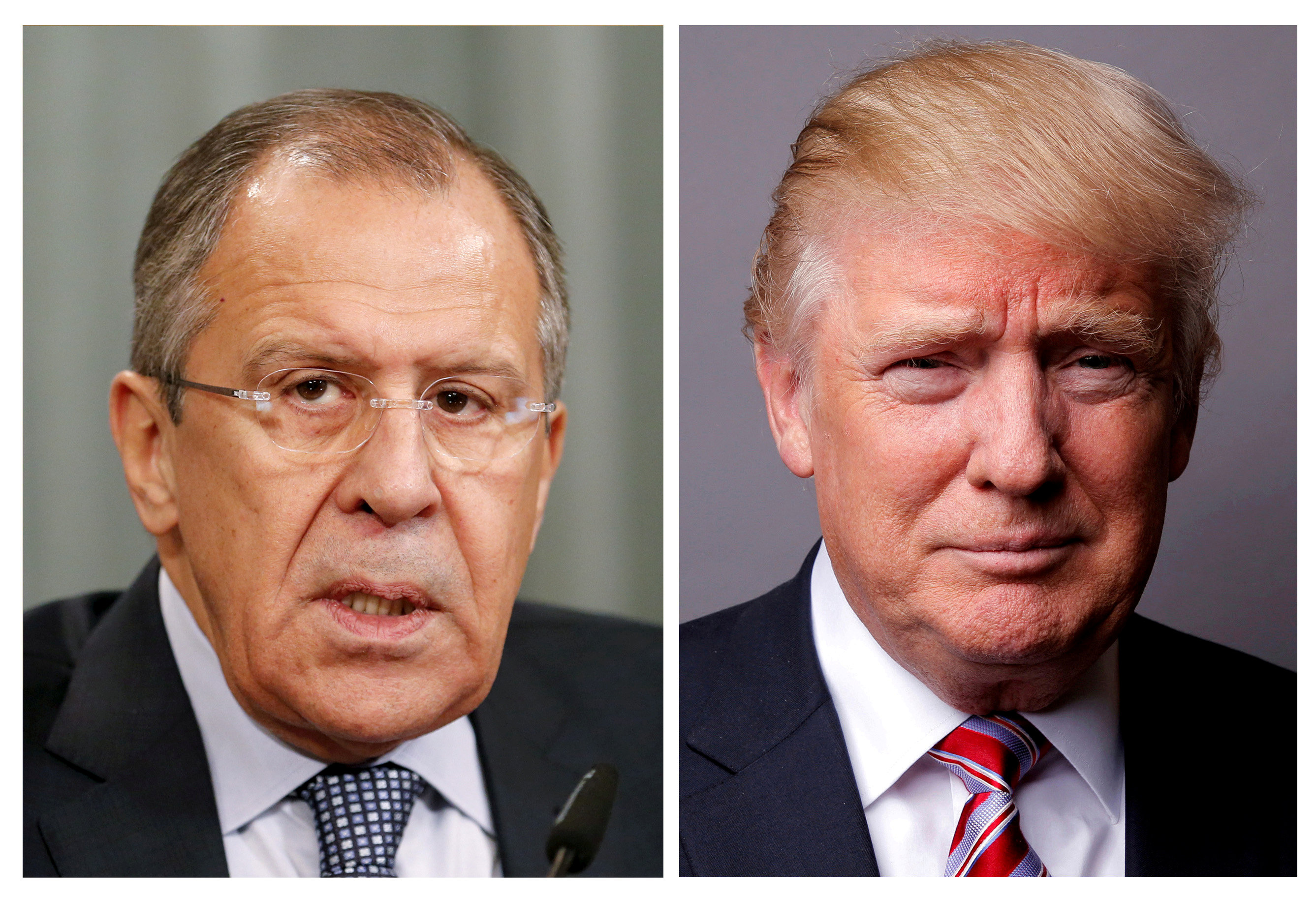 FILE PHOTO: A combination of file photos showing Russian Foreign Minister Sergei Lavrov attending a news conference in Moscow, Russia, November 18, 2015, and U.S. President Donald Trump posing for a photo in New York City, U.S., May 17, 2016. REUTERS/Maxim Zmeyev/Lucas Jackson/File Photos