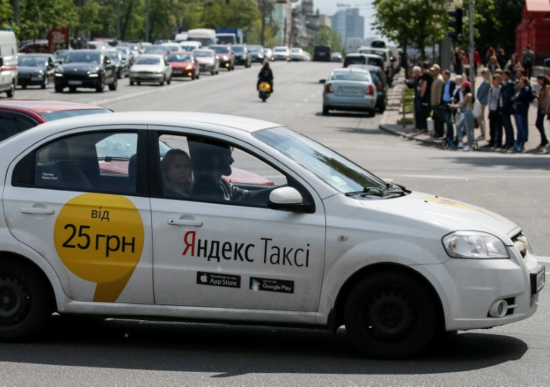 A Yandex taxi is seen in central Kiev, Ukraine, May 16, 2017. REUTERS/Gleb Garanich