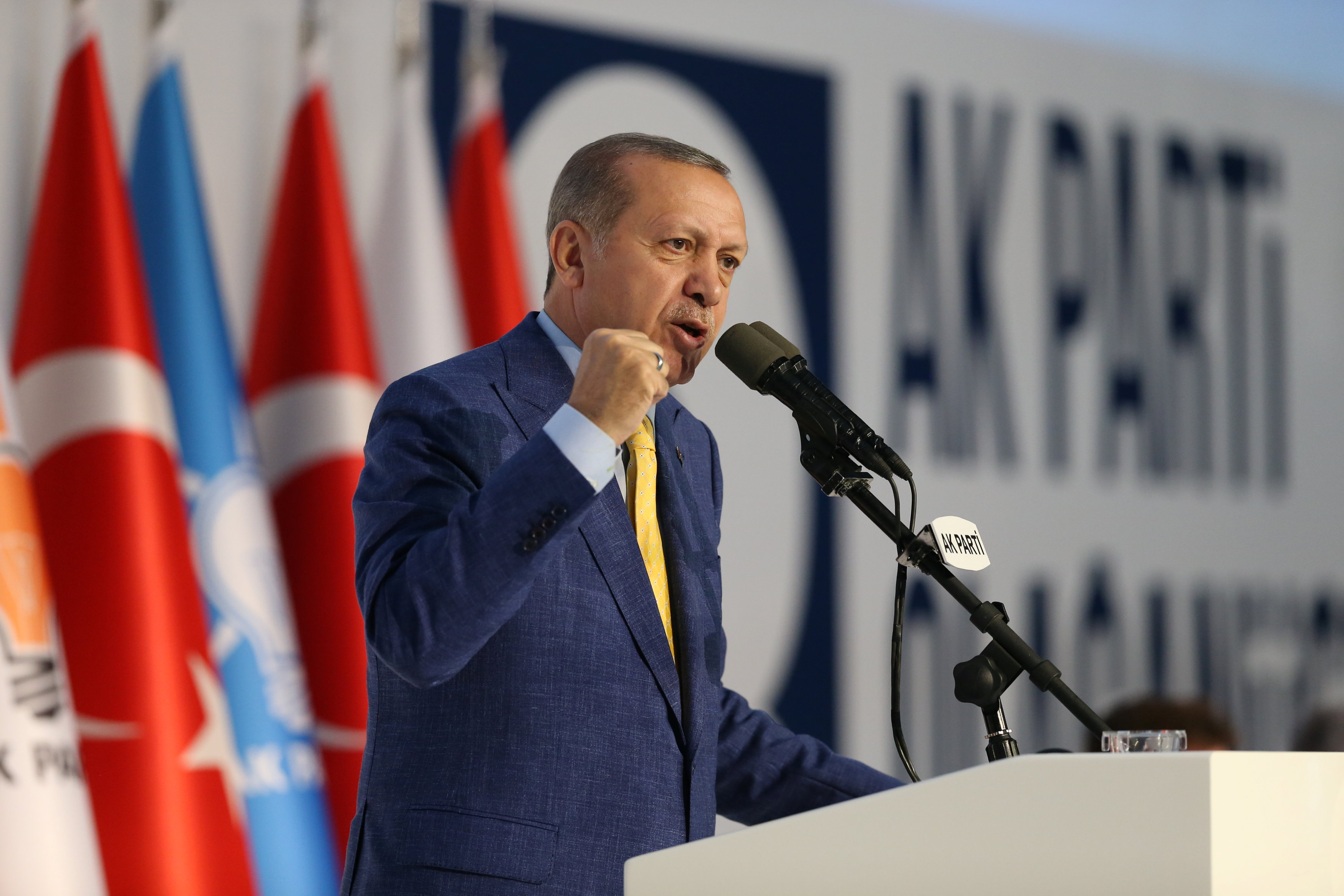 FILE PHOTO: Turkish President Tayyip Erdogan makes a speech during the Extraordinary Congress of the ruling AK Party (AKP) in Ankara, Turkey May 21, 2017. Murat Cetinmuhurdar/Presidential Palace/Handout via REUTERS