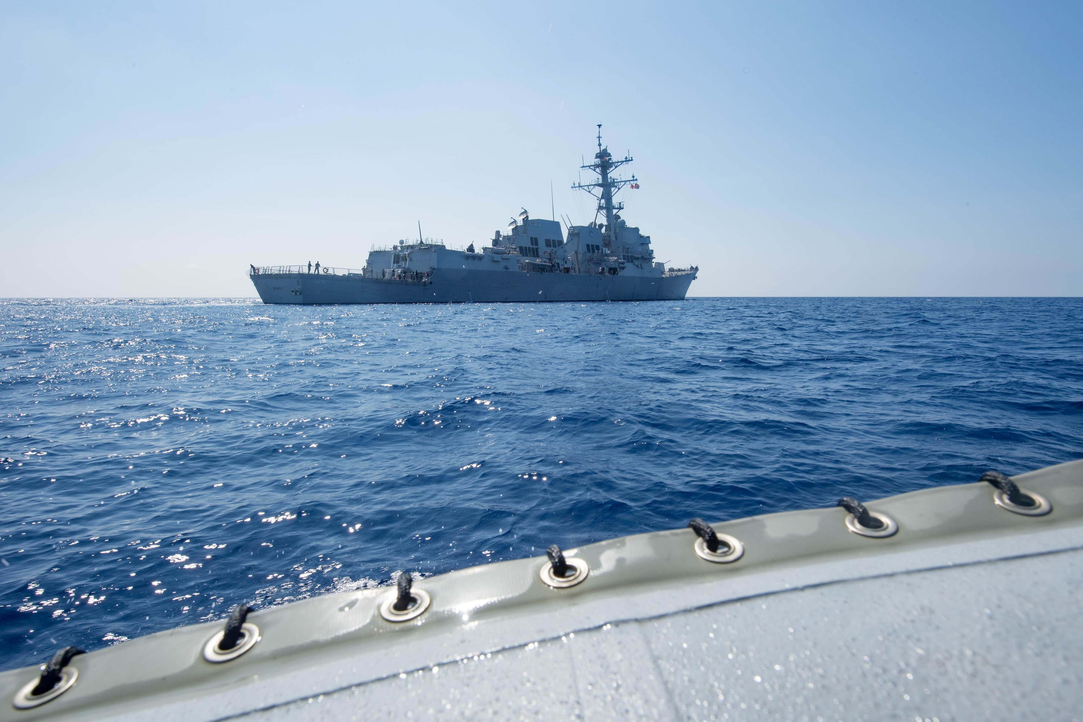 Arleigh Burke-class guided-missile destroyer USS Dewey transits the South China Sea May 6, 2017. Picture taken May 6, 2017. Kryzentia Weiermann/Courtesy U.S. Navy/Handout via REUTERS