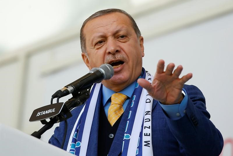 Turkish President Tayyip Erdogan delivers a speech during a graduation ceremony at an Imam Hatip religious school association in Istanbul, Turkey, May 26, 2017.