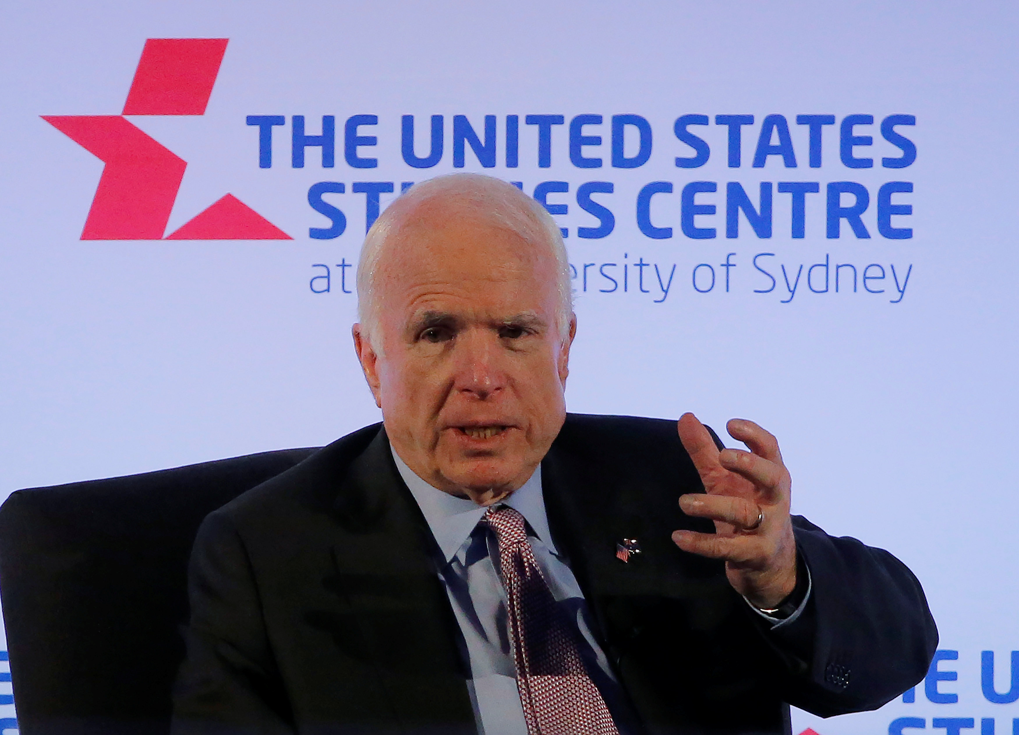 United States Senator John McCain speaks at a United States Studies Centre event in Sydney, Australia May 30, 2017. REUTERS/Jason Reed
