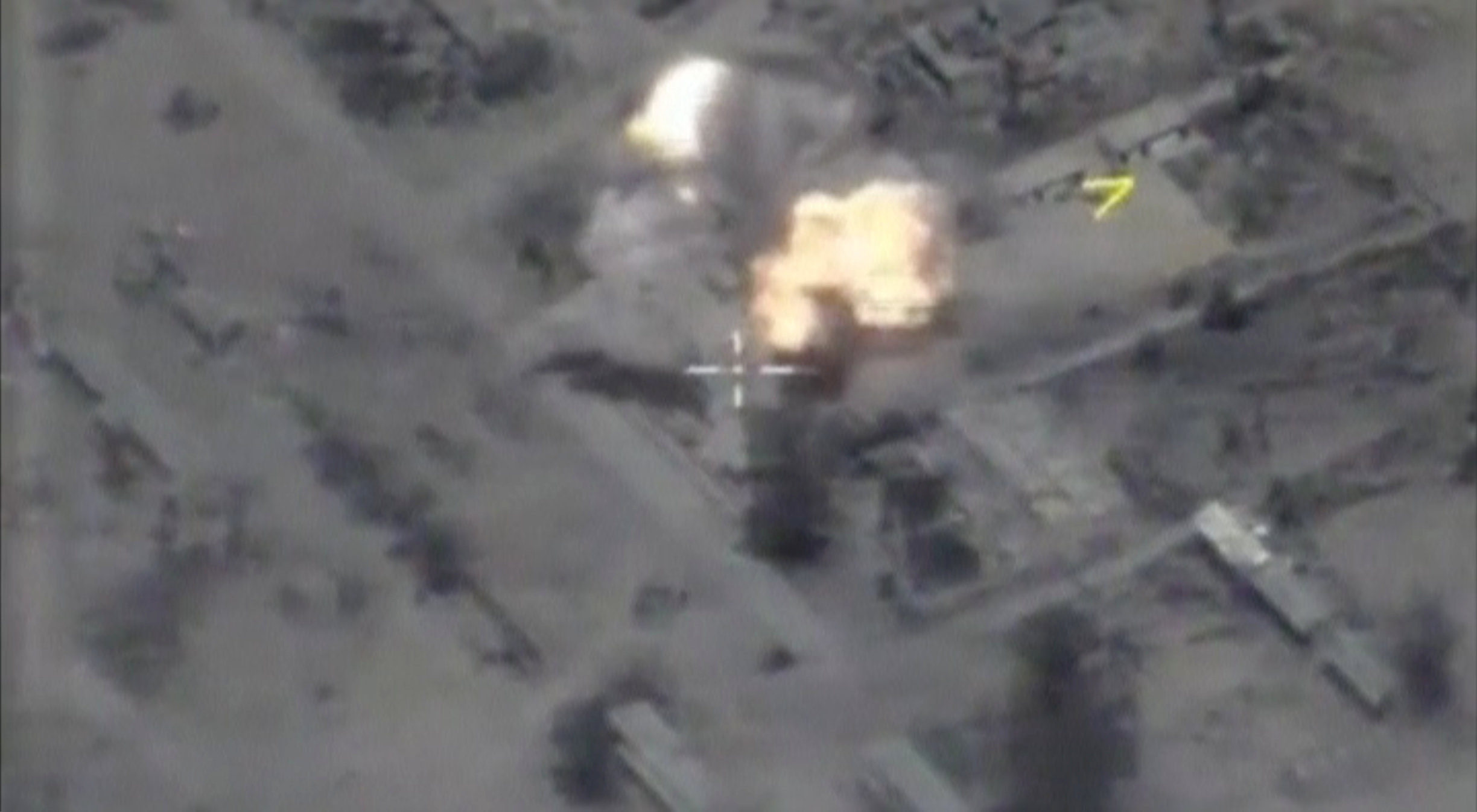 A still image taken from a video footage and released by Russia's Defence Ministry shows bombs hitting what Defence Ministry said were Islamic State targets near the Syrian city of Palmyra. Ministry of Defence of the Russian Federation/via REUTERS TV