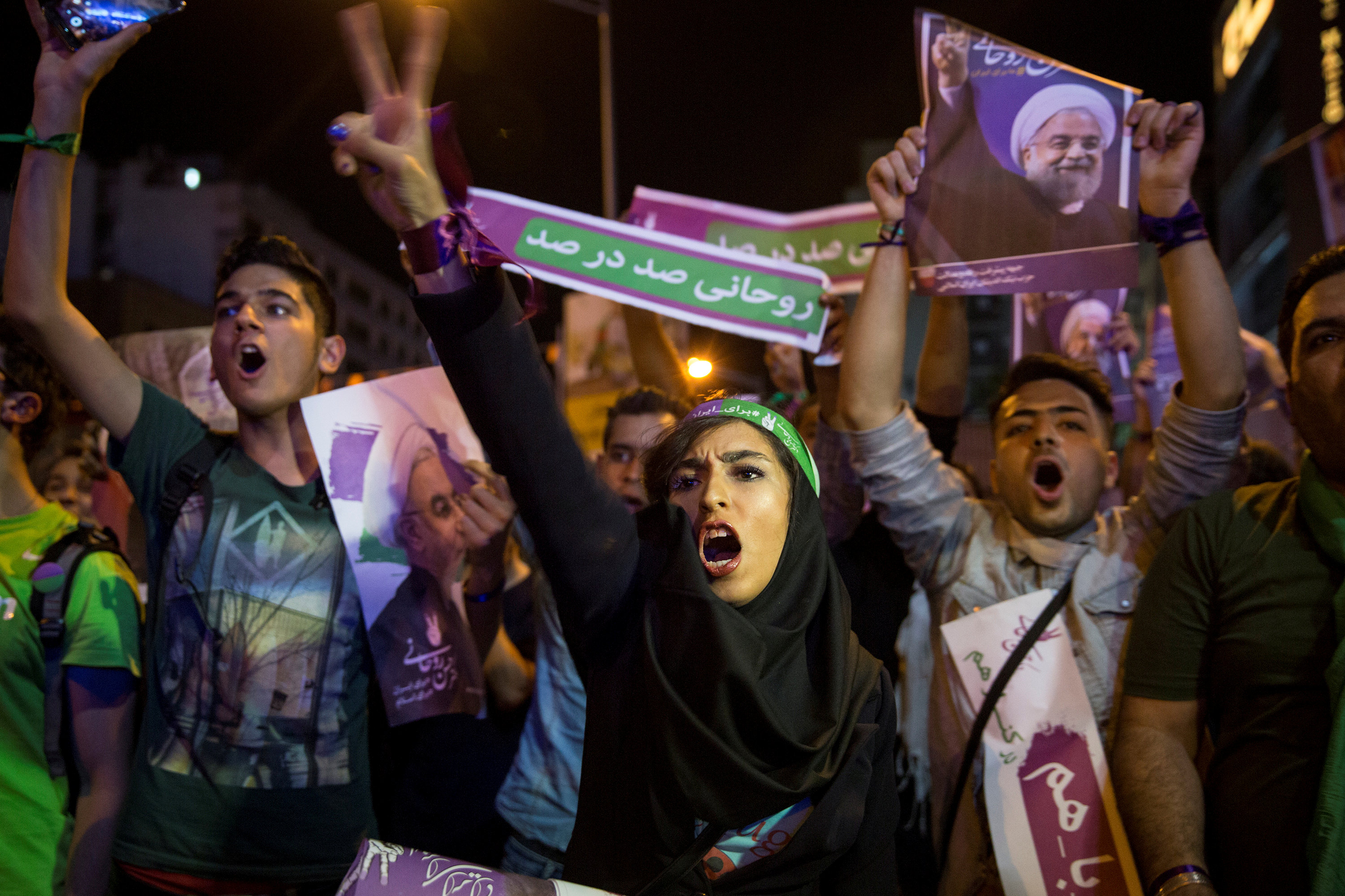 FILE PHOTO: Supporters of Iran's President Hassan Rouhani take part in a campaign rally in Tehran, Iran, May 17, 2017. Picture taken May 17, 2017. TIMA via REUTERS/File Photo