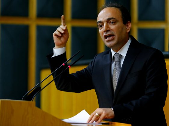 FILE PHOTO: Osman Baydemir, spokesman for the Peoples' Democratic Party (HDP), addresses members of parliament from his party during a meeting at the Turkish parliament in Ankara, Turkey April 18, 2017. Picture taken April 18, 2017. REUTERS/Umit Bektas/File Photo
