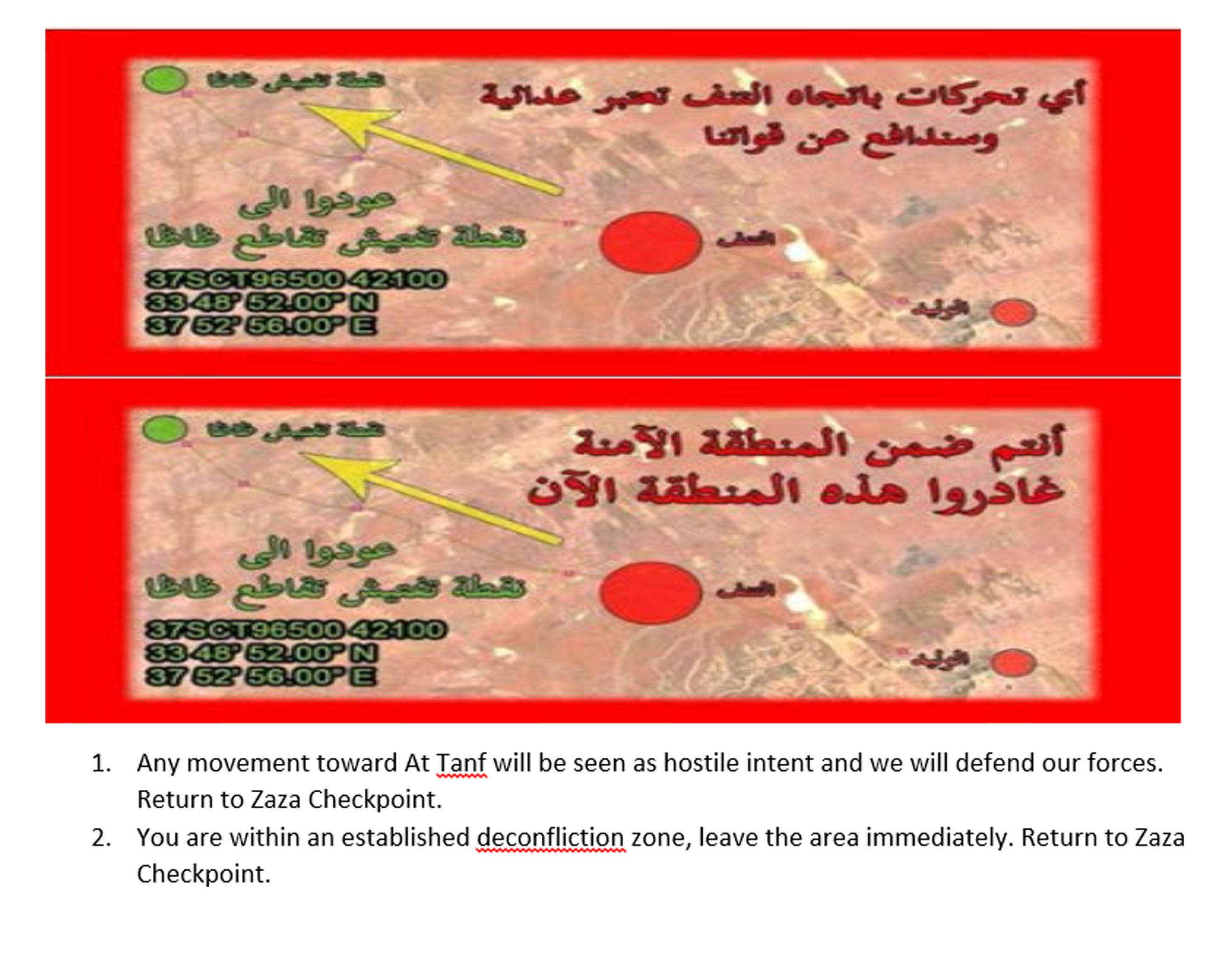 A copy of leaflets, with English-language translation, that were dropped by the U.S. military in southern Syria in recent days to advise Iran-backed forces to depart an area near a garrison used by U.S. and U.S.-backed forces as tensions mount are shown in this handout provided June 1, 2017. Courtesy U.S. Defense Department/Handout via REUTERS