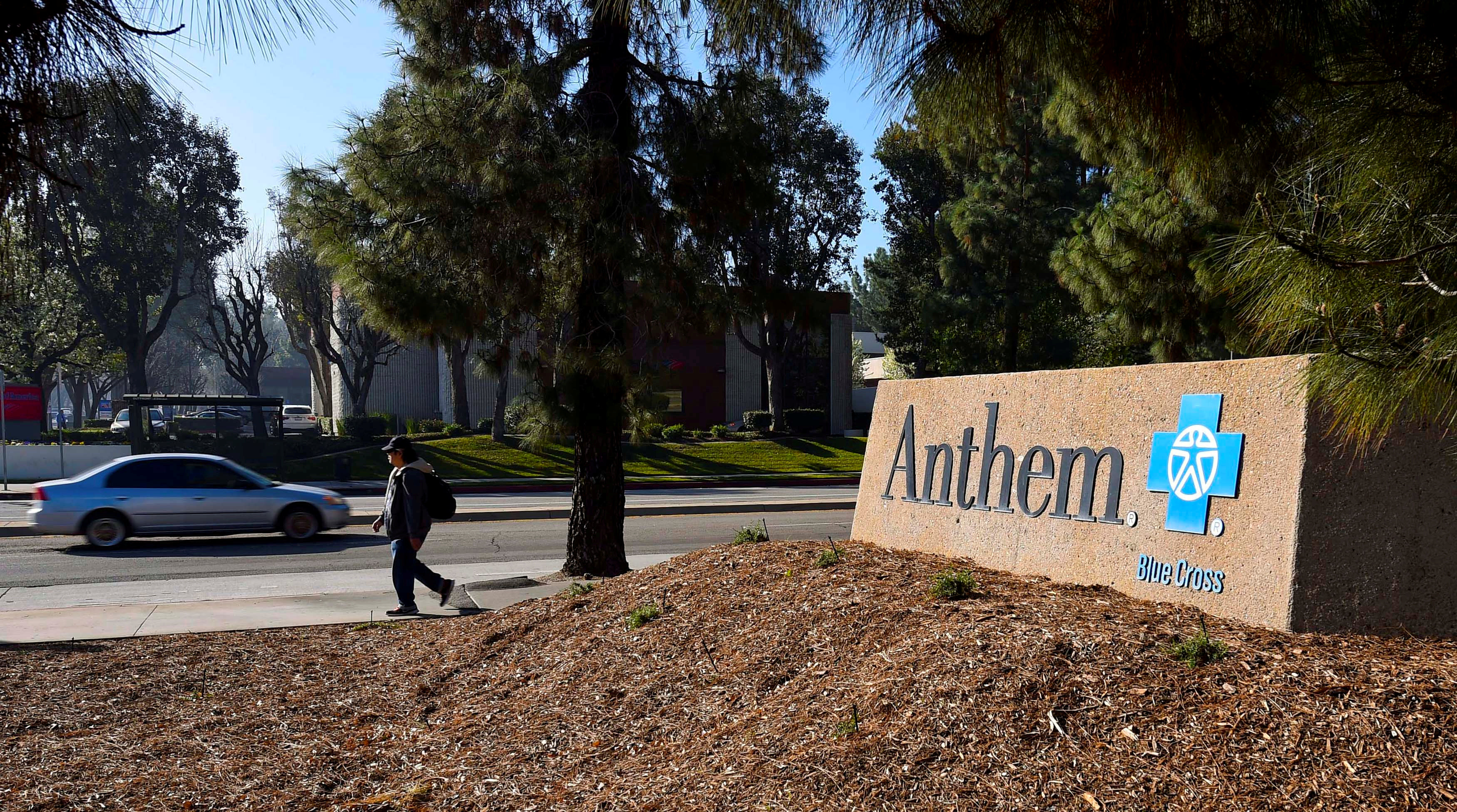 FILE PHOTO: A sign at the office building of health insurer Anthem is seen in Los Angeles, California February 5, 2015. REUTERS/Gus Ruelas/File Photo