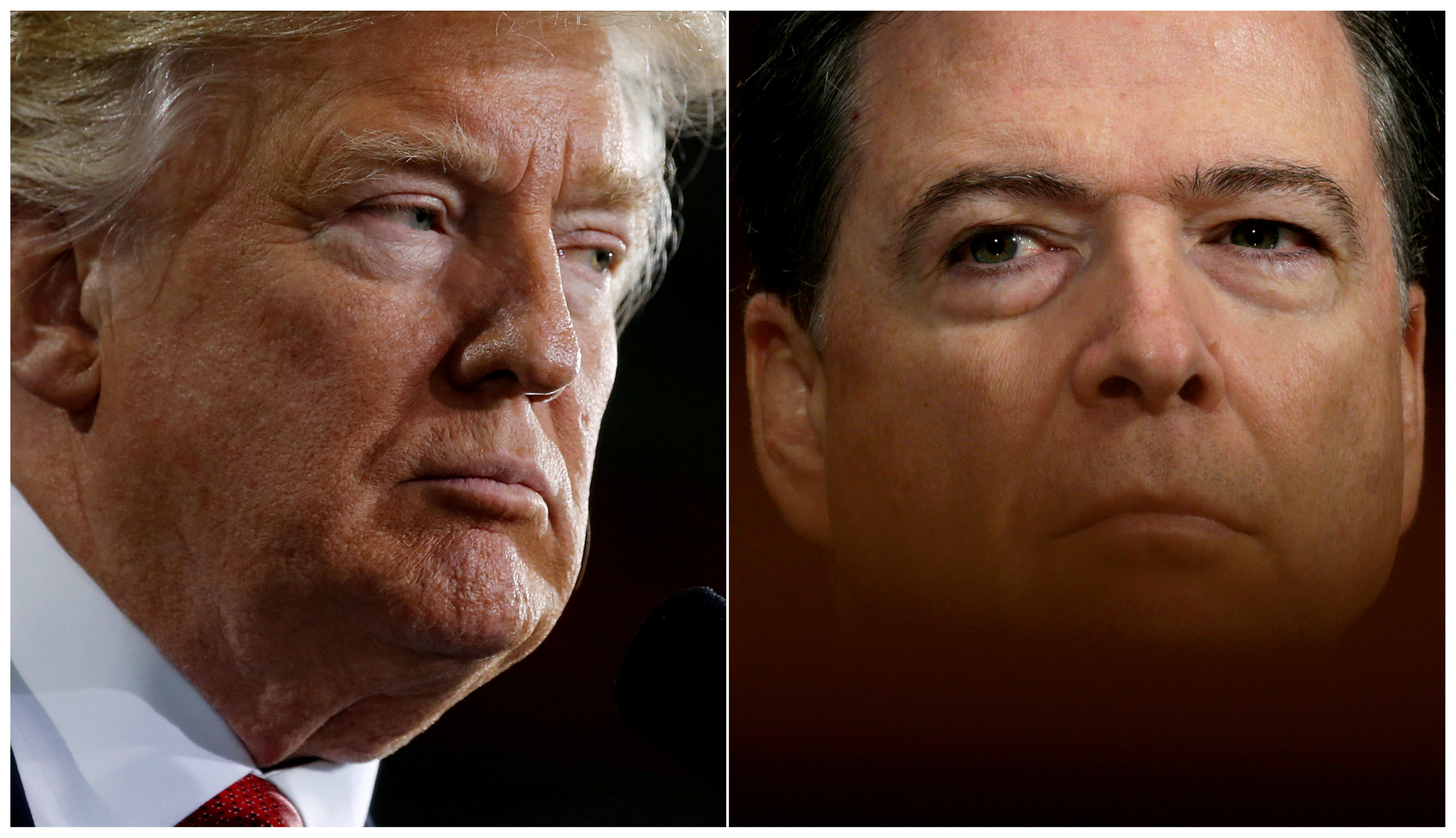 FILE PHOTO: U.S. President Donald Trump (L) speaks in Ypilanti Township, Michigan March 15, 2017 and FBI Director James Comey testifies before a Senate Judiciary Committee hearing in Washington, D.C., May 3, 2017 in a combination of file photos. REUTERS/Jonathan Ernst/Kevin Lamarque/File Photo