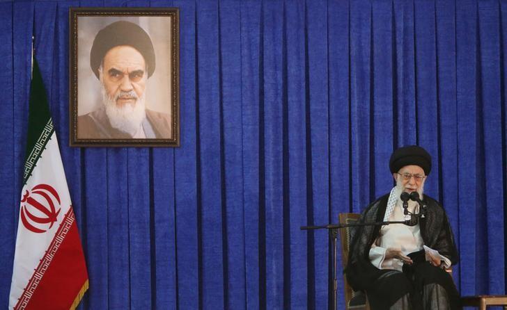 FILE PHOTO: Iran's Supreme Leader Ayatollah Ali Khamenei delivers a speech in Tehran, Iran, June 4, 2017. TIMA via REUTERS