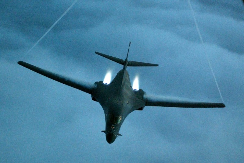 FILE PHOTO: A B-1B Lancer from the U.S. Air Force 28th Air Expeditionary Wing heads out on a combat mission in support of strikes on Afghanistan in this file picture released December 7, 2001. Cedric H.Rudisill/USAF/Handout via REUTERS