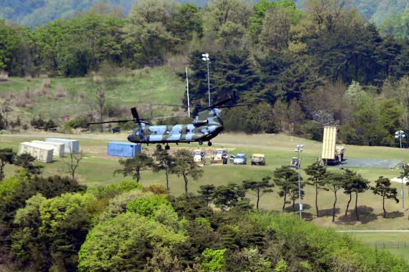 FILE PHOTO: A Terminal High Altitude Area Defense (THAAD) interceptor (R) is seen in Seongju, South Korea, April 26, 2017. Lee Jong-hyeon/News1 via REUTERS