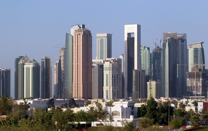 FILE PHOTO: A view shows buildings in Doha, Qatar, June 9, 2017. REUTERS/Naseem Zeitoon