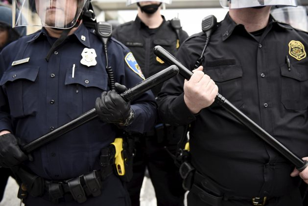 FILE PHOTO: Police are seen as demonstrators gather near Camden Yards to protest against the death in police custody of Freddie Gray in Baltimore, Maryland, U.S. on April 25, 2015. REUTERS/Sait Serkan Gurbuz/File Photo