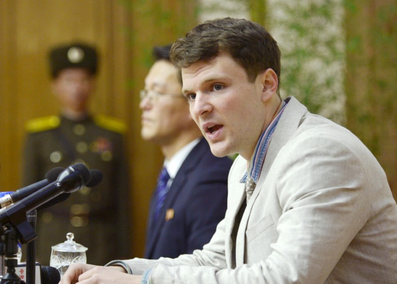 FILE PHOTO - Otto Frederick Warmbier, a University of Virginia student who has been detained in North Korea since early January, attends a news conference in Pyongyang, North Korea, in this photo released by Kyodo February 29, 2016. Mandatory credit REUTERS/Kyodo