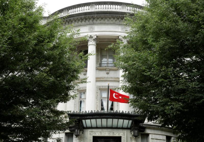 The Turkish flag flies over the the Turkish Ambassador's residence in Washington, U.S., June 15, 2017. REUTERS/Joshua Roberts
