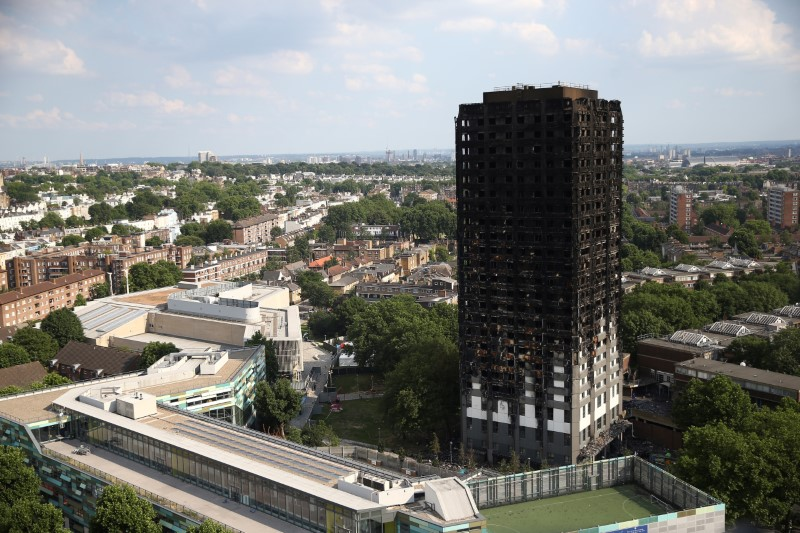 The burnt out remains of the Grenfell apartment tower are seen in North Kensington, London, Britain, June 18, 201