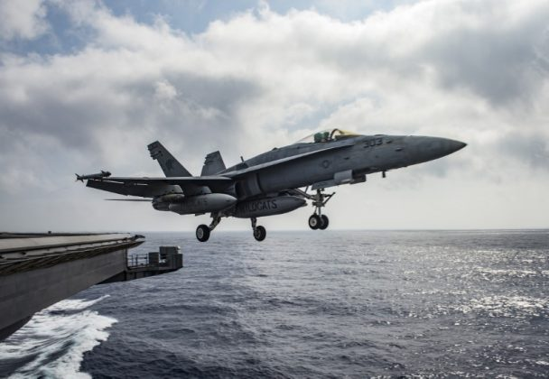 A U.S. Navy F/A-18E Super Hornet launches from the flight deck of the aircraft carrier USS Dwight D. Eisenhower (CVN 69) in the Mediterranean Sea June 28, 2016.