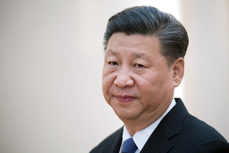 China's President Xi Jinping waits to greet Brazil's Foreign Minister Aloysio Nunes (not seen), Russia's Foreign Minister Sergey Lavrov (not seen), South Africa's Foreign Minister Maite Nkoana-Mashabane (not seen) and Indian Minister of External Affairs Vijay Kumar Singh (not seen) as he meets with foreign affairs officials from the BRICS countries at the Great Hall of the PeopleÕs Fujian Room in Beijing on June 19, 2017. REUTERS/Nicolas Asfouri/Pool