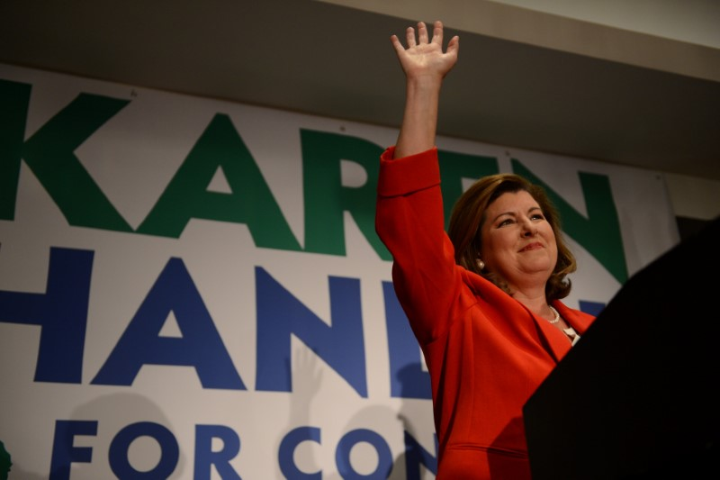 Karen Handel, Republican candidate for Georgia's 6th Congressional District, makes an appearance before supporters prior to giving her acceptance speech at her election night party at the Hyatt Regency at Villa Christina in Atlanta, Georgia, U.S., June 20, 2017. REUTERS/Bita Honarvar