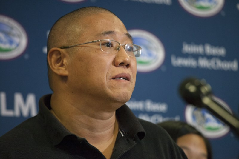 Kenneth Bae speaks upon returning from North Korea during a news conference at U.S. Air Force Joint Base Lewis-McChord in Fort Lewis, Washington, United States on November 8, 2014. REUTERS/David Ryder/File Photo